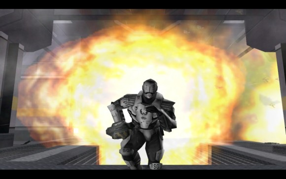 Red Faction - running from an explosion