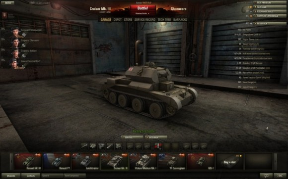 World of Tanks - garage