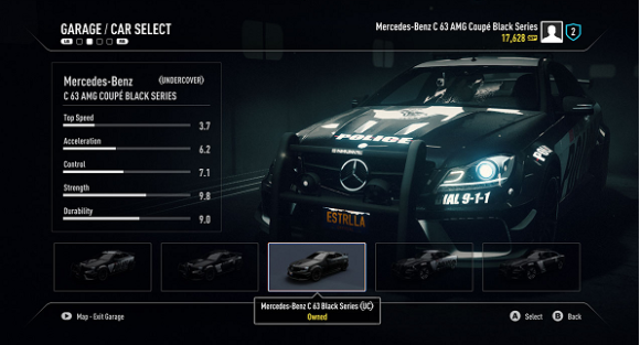 Need for Speed Rivals car selection